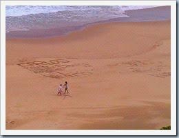 Kerry, Carlos, Doug, Demi, Pedro, Roberto written on the beach