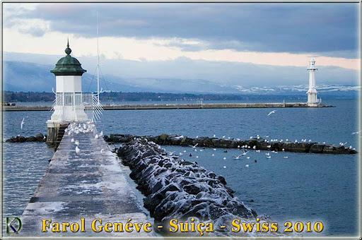 Leuchtturm Genfer See, Hafen Genf, Schweiz, Swiss