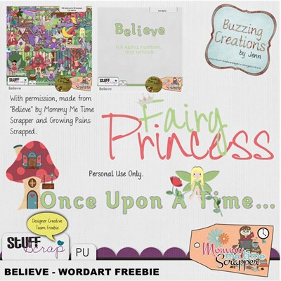 Mommy Me Time Scrapper - Believe - Wordart Freebies Preview