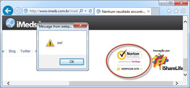 iMeds with reflected XSS