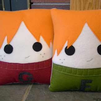 Fred and George Weasley Felt Pillows by Heart Felt Deisgns