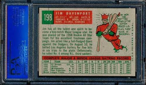 1959 Topps 198 Jim Davenport back