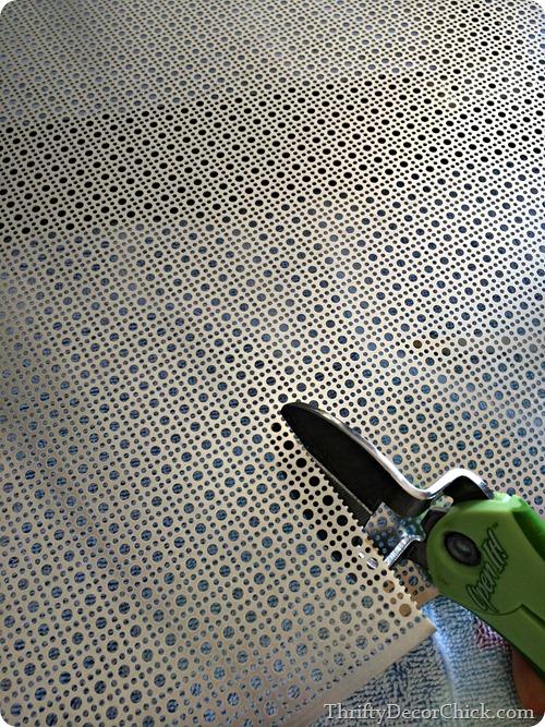 cutting radiator metal sheeting