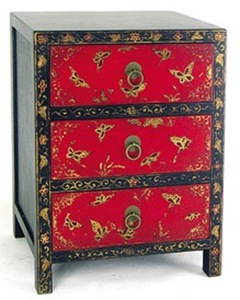 black and red chinese butterfly cabinet