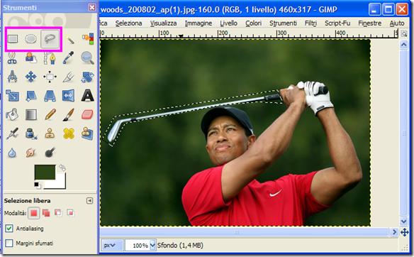 GIMP selezionare lìoggetto da rimuovere dalla foto