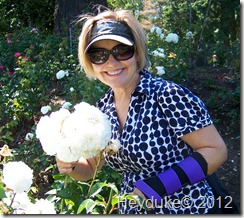 Sharon in the rose garden with new splint