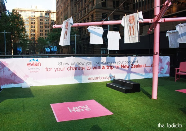 evian Live Young Backyard - Martin Place, Sydney - Giant Pink Hills Hoist (1)