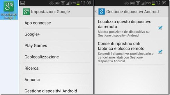 Android app Impostazioni Google
