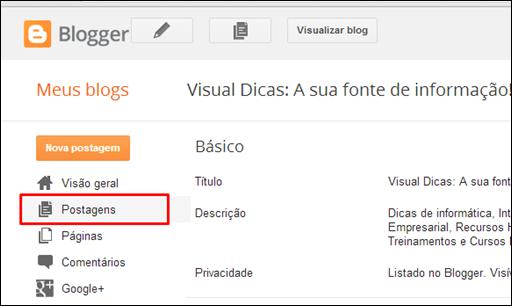 Como definir metatags diretamente no Blogger - Visual Dicas