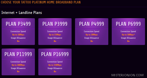 Globe Tattoo Home Broadband Platinum Plans
