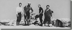 Tom Frost, Royal Robbins, Chuck Pratts e  Yvon Chounard.  1º ascención de North America Wall