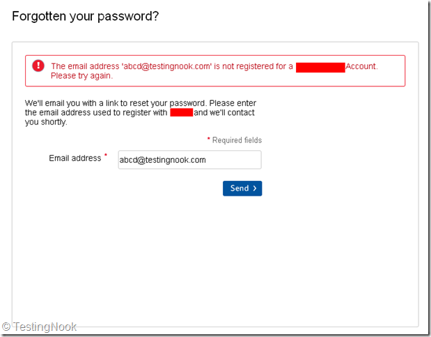 "Error message on ""Forgot your Password?"" Page"