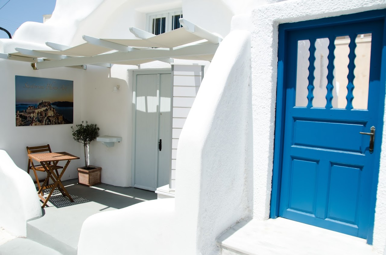Blue and white door