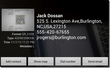 How Contact's scanned QR code looks like in Android Bar Code scanner