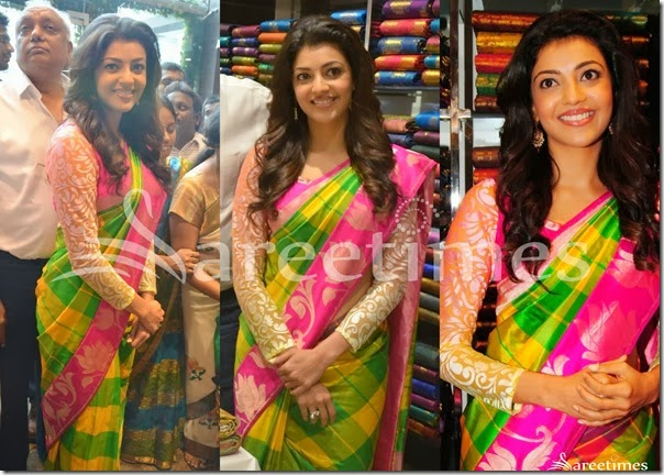Kajal_Green_Yellow_Silk_Saree