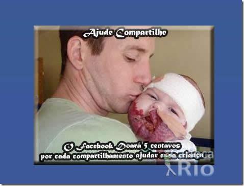 Bebê doente pede a sua ajuda no Facebook! Será? (reprodução)