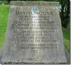 Daniel Boone stone monument in the Daniel Boone Park