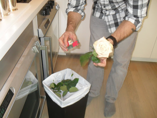 Here you can see how the stem stripper easily wraps around the stem of the rose.