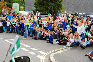 Moretonhampstead Primary School cheer the race on
