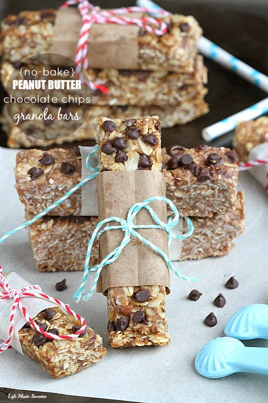 NO BAKE Peanut butter and Chocolate Chips Granola Bars