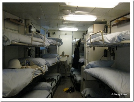 Crews bunk room. They used to have hammocks prior to a refit.