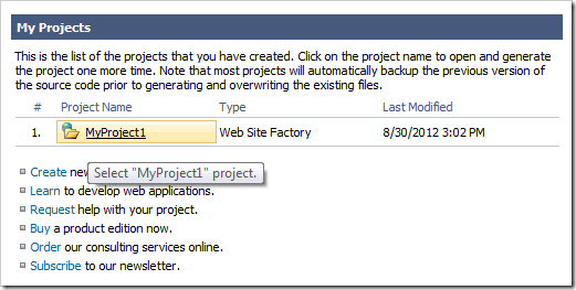Clicking on the name of a project on the Start page of Code On Time web application generator.