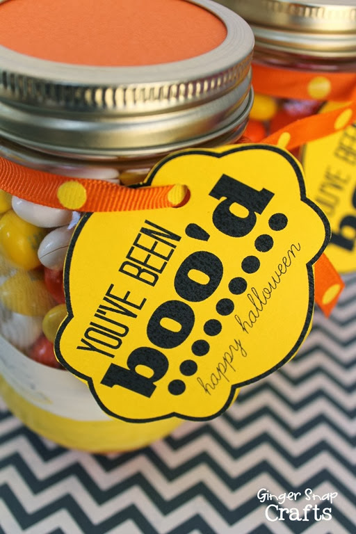 you've been boo'd painted mason jar with printable tag #decoart #halloween #printable #spon