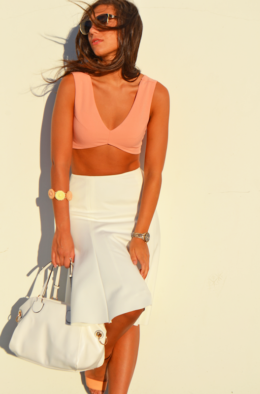 zara skirt white flared