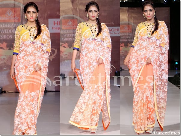 Orange_Embellished_Net_Saree