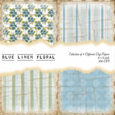 Blue Linen Floral Front Sheet