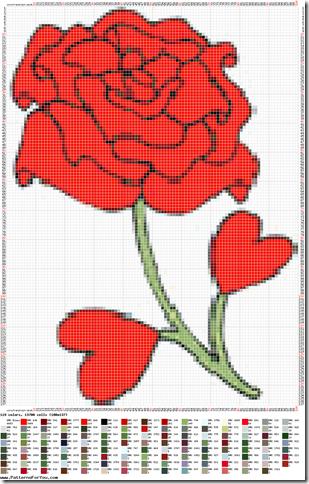 Ponto cruz graficos de rosas  33