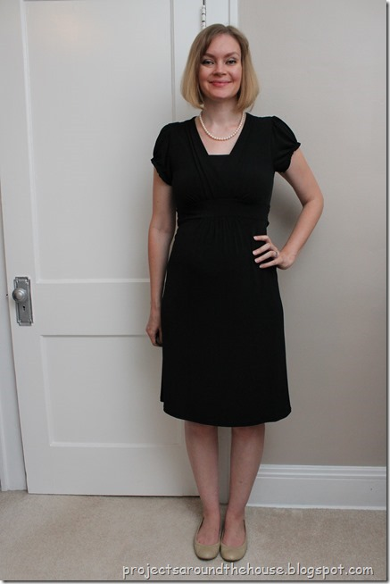 black dress with pearls