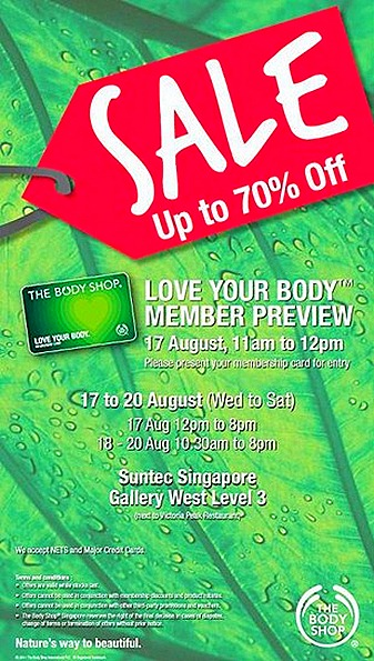 THE Body Shop Warehouse SALE Suntec