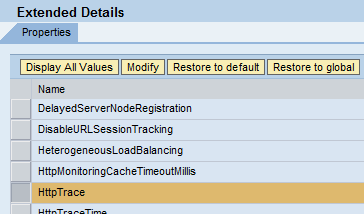 SAP NWA System Properties dispatcher http service httptrace