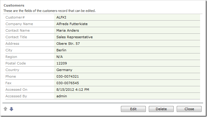 AccessedOn and AccessedBy fields are populated in the user interface.
