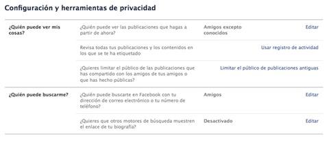 Configuración y herramientas de privacidad