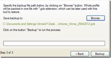 Google Chrome Backup avviare il Backup del profilo
