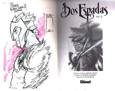 Dibujo dedicado de Kenny Ruiz a Nikochan Comics
