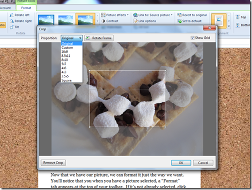 livewriter picture format toolbar crop window options