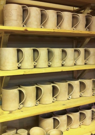 bisque ware mugs glazedOver Pottery