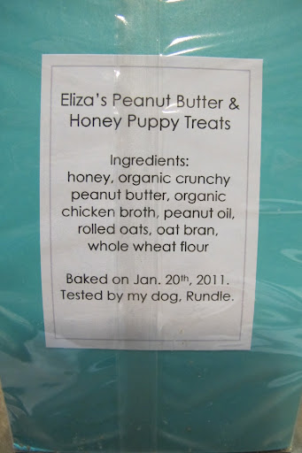 As you can see, Eliza's Peanut Butter & Honey Puppy Treats are made with only the finest natural ingredients.