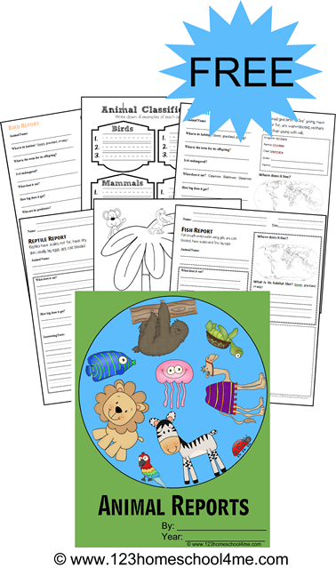 FREE Animal Report Forms - These are great for homeschool elementary kids (K-6th grade) to learn about different animal classifications, where they live and more; great science worksheets