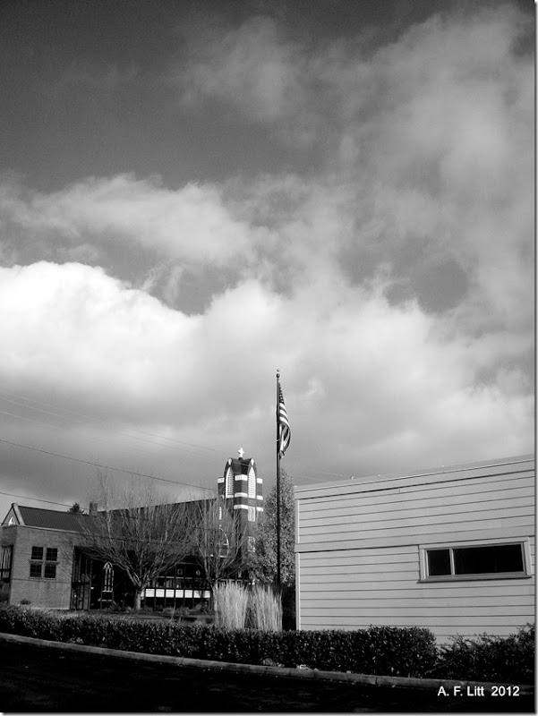 Cross and Flag - One.  Gresham, Oregon.  December 2, 2011.  Photo of the Day, February 23, 2012.
