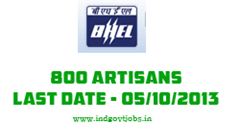 bhel artisan recruitment 2013