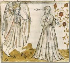 frappé par le dieu Amour, couronné et ailé, de cinq flêches, dont une à l'œil qui arriva droit au cœur BnF, Français 805, f. 13 v (France, début du XVe s.)