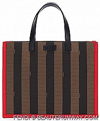 Fendi Pequin capsule collection of iconic silk stole, a shopping bag, a clutch bag, two pairs of sunglasses, one belt, two bracelets of different sizes striped patternred leather details accentuates highlights