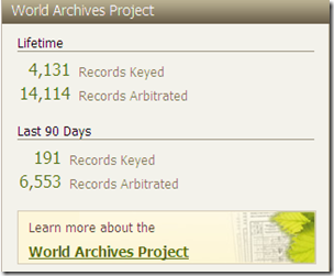 World Archives Project activity, Ancestry.com personal profile