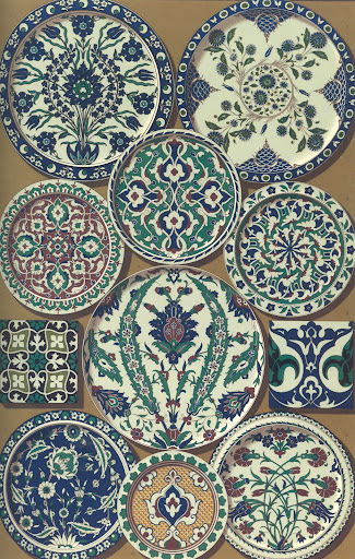 Persian art  from glazed ceramics. I love the basic forms 9arabesques and florals) and palette used over and over again but in creative ways.
