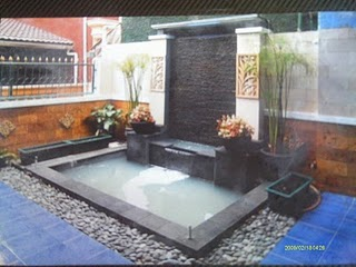design taman   kolam hias & air terjun minimalis   saung