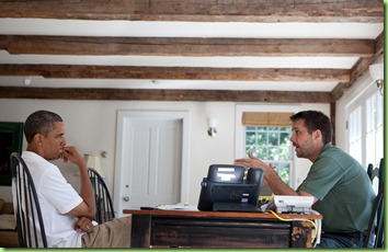 President Barack Obama receives an economic briefing from Brian Deese, Deputy Director of the National Economic Council, at the Fisher House at Blue Heron Farm in Chilmark, Massachusetts, August 24, 2011. (Official White House Photo by Pete Souza)